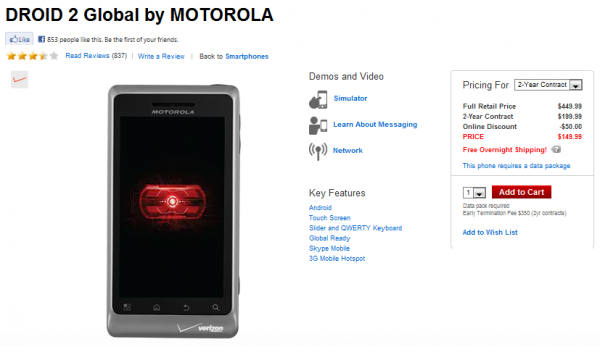 Verizon Drops DROID2 Global Price, We Know What That Means