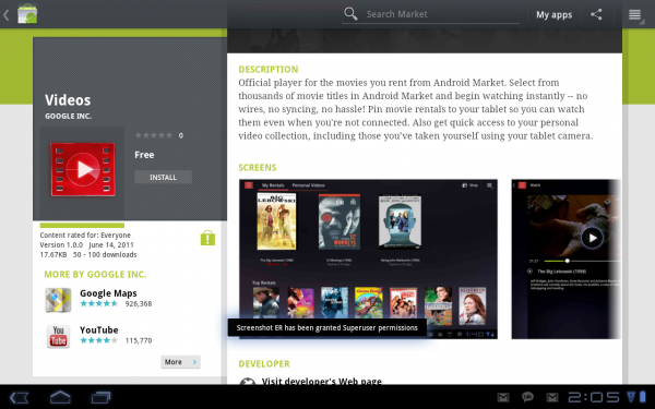 Google Videos App Now Available For Motorola XOOM WiFi, Time To Rent Movies