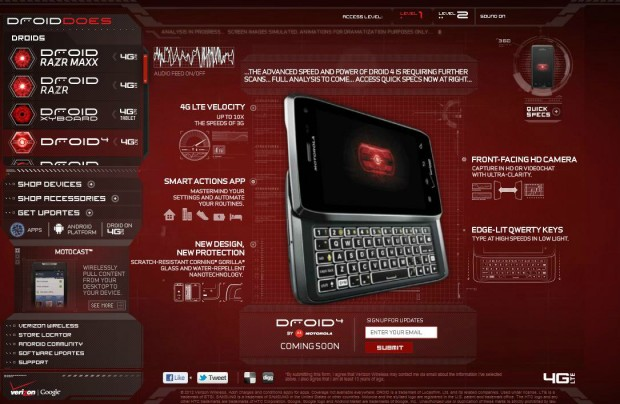 Motorola Droid 4 officially on Verizon's Droid Does website