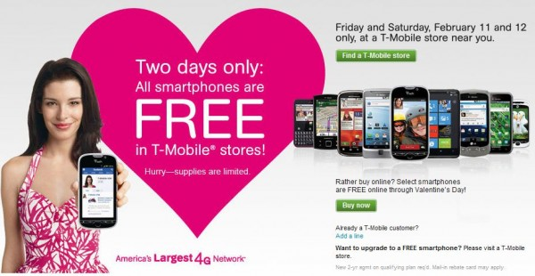 T-Mobile celebrating Valentine's Day with free 4G Devices
