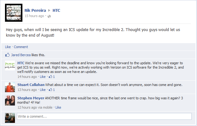 HTC Comments On Thunderbolt & Droid Incredible 2 ICS Update, Users Fed Up!