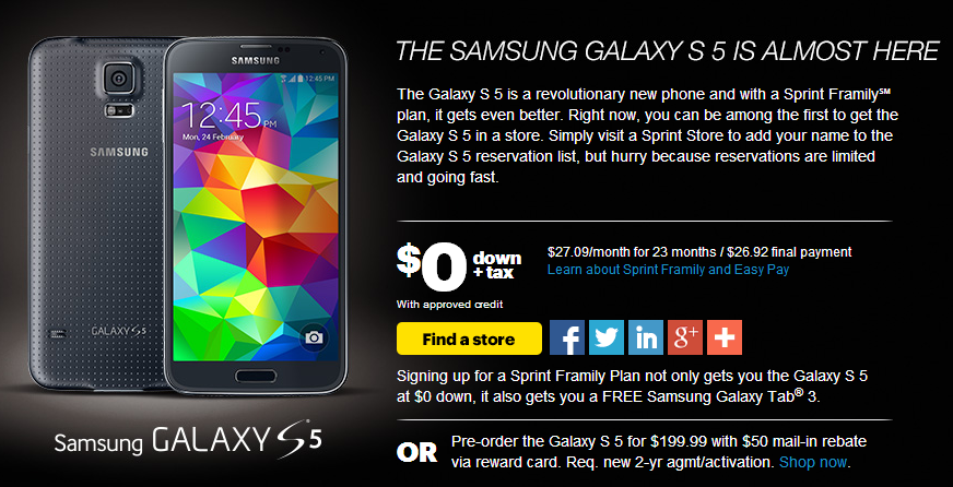 Samsung Galaxy S5 on Sprint Now Available for Pre-Order