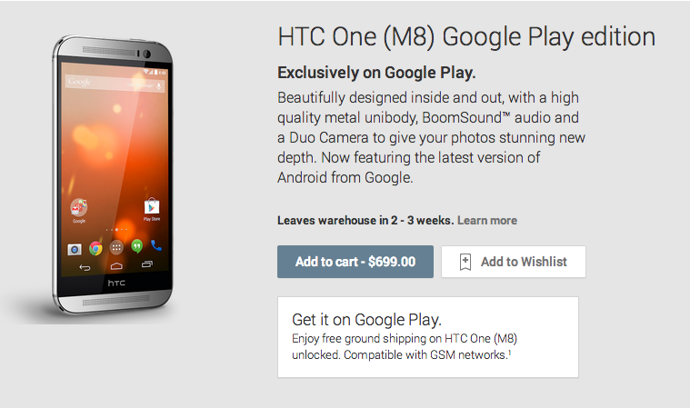 HTC One M8 Google Play Editions Shipping Today