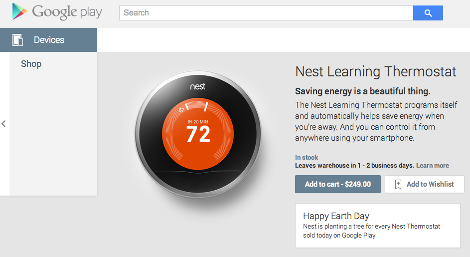 Google is Now Selling the Nest Learning Thermostat on the Play Store